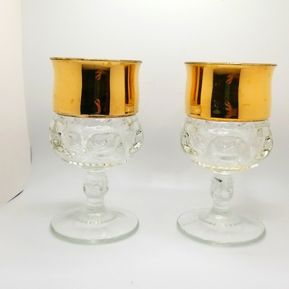 Vintage Midcentury 50's 60's Gold Lined Footed Wine Glass Goblets Set of 2